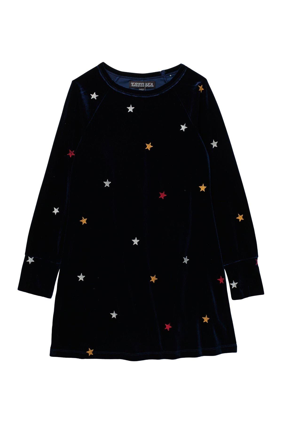 Image of Trixxi Velvet Star Embroidered Dress