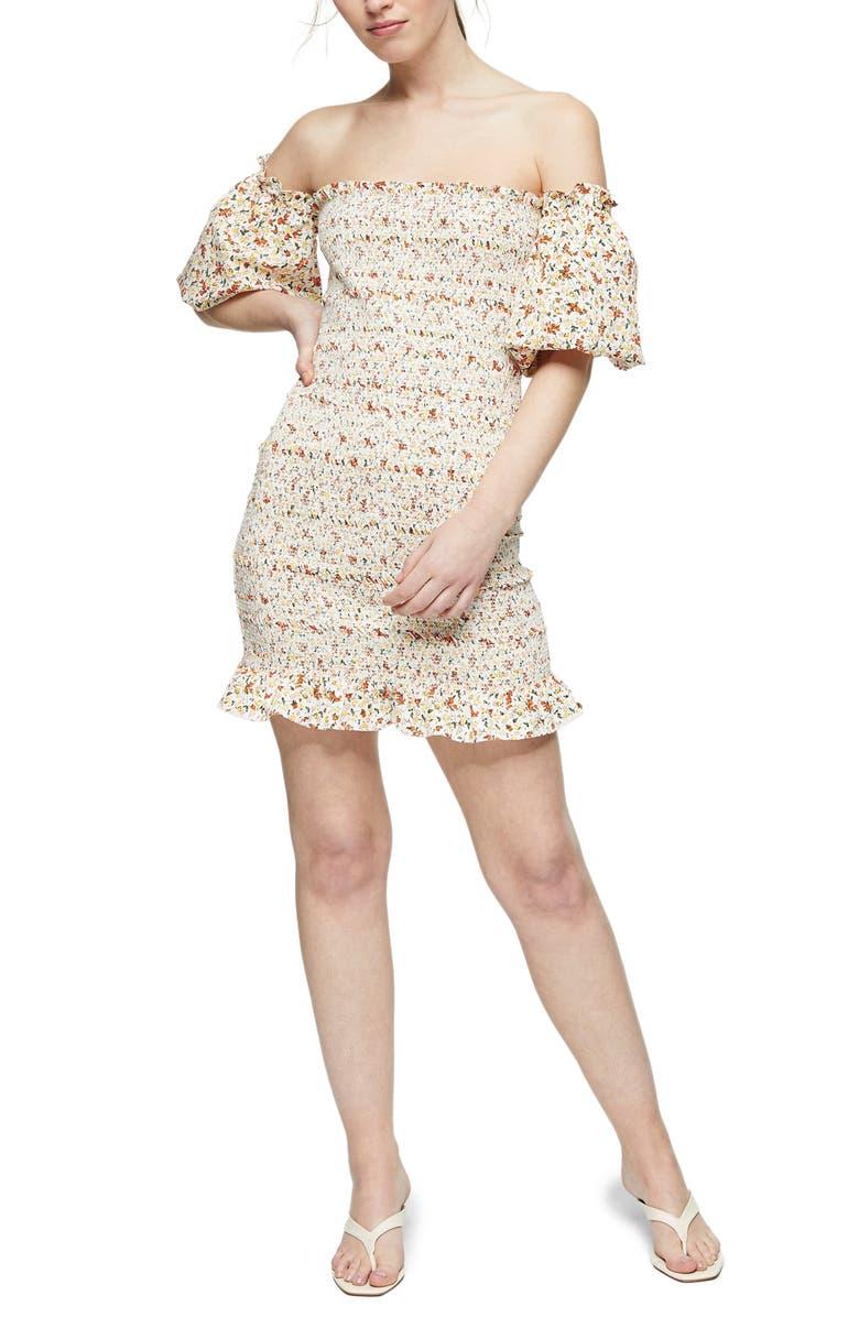 TOPSHOP Ditsy Floral Print Off the Shoulder Minidress, Main, color, IVORY