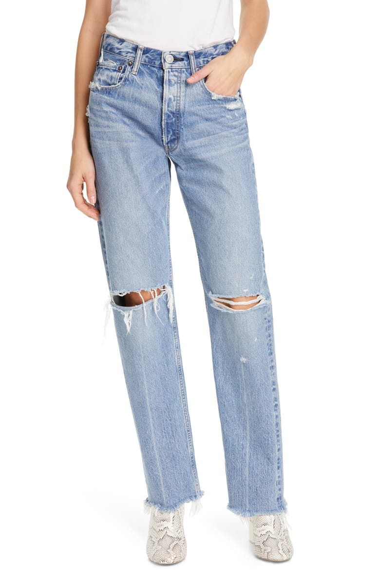 MOUSSY VINTAGE Viola Ripped Straight Leg Jeans, Main, color, LIGHT BLUE