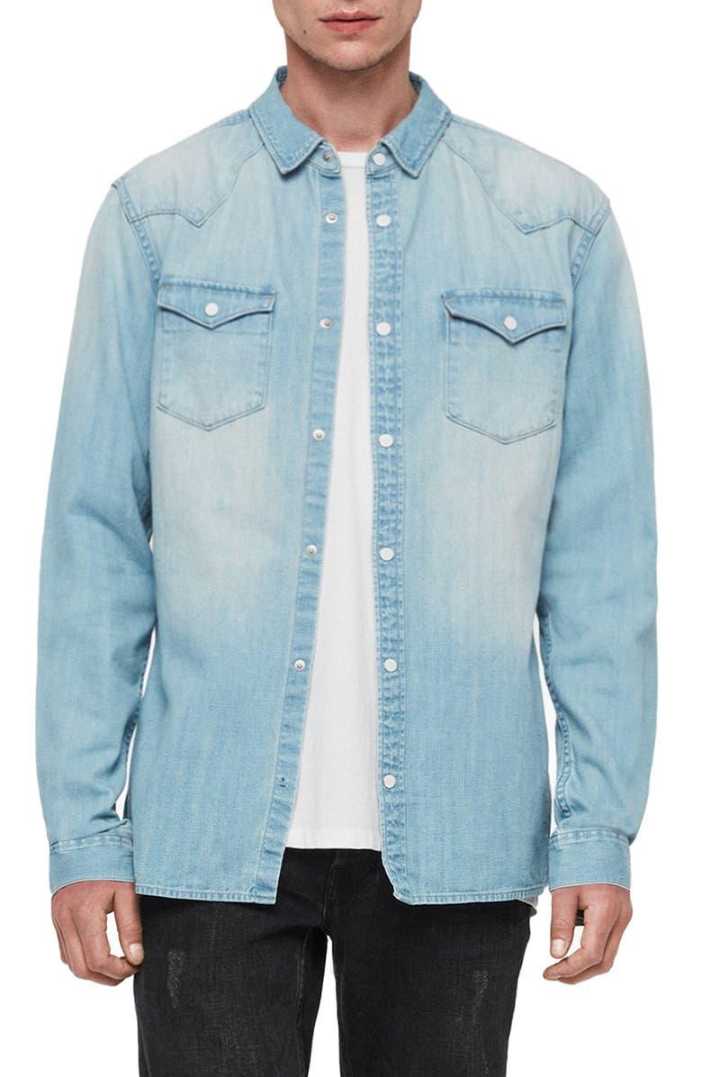 ALLSAINTS Cardock Slim Fit Denim Shirt, Main, color, LIGHT INDIGO BLUE
