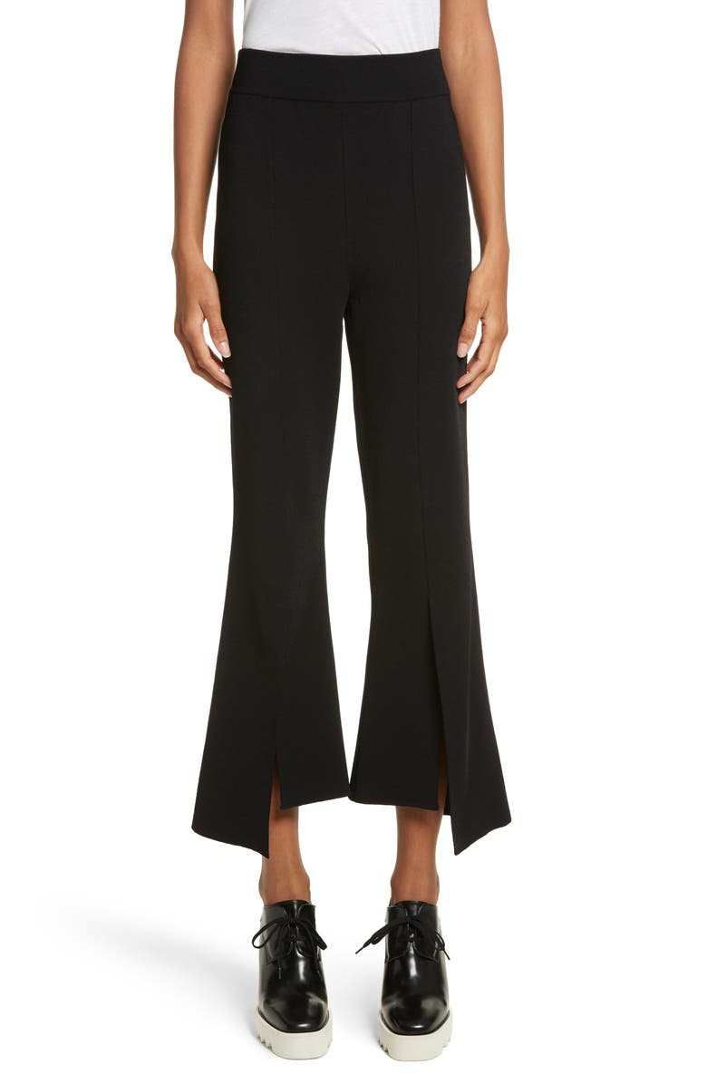 STELLA MCCARTNEY Compact Knit Crop Flare Pants, Main, color, BLACK