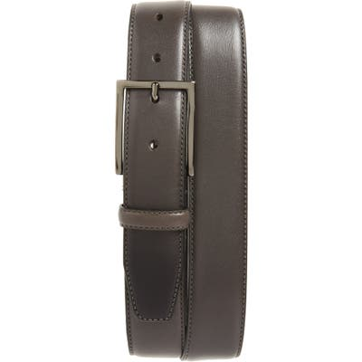 Nordstrom Shop Marco Burnished Leather Belt, Grey Alloy