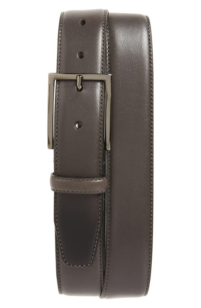 NORDSTROM MEN'S SHOP Marco Burnished Leather Belt, Main, color, GREY ALLOY