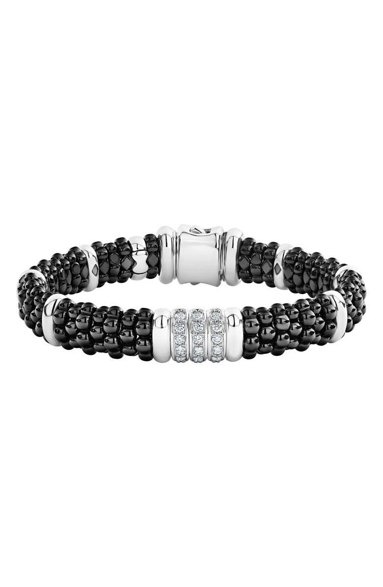 LAGOS Black Caviar Diamond 3-Link Bracelet, Main, color, SILVER/ BLACK