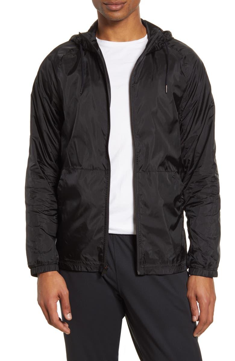 ZELLA Hooded Mesh Inset Rain Jacket, Main, color, BLACK