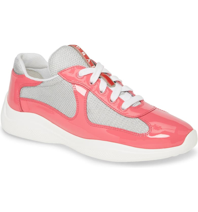 PRADA Logo Low Top Sneaker, Main, color, FUCHSIA PATENT