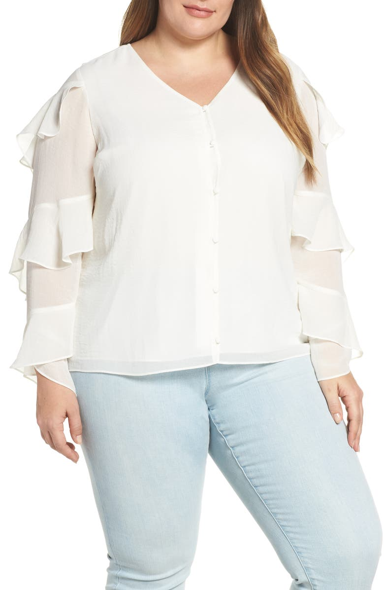 VINCE CAMUTO Tiered Sleeve Button Chiffon Top, Main, color, NEW IVORY