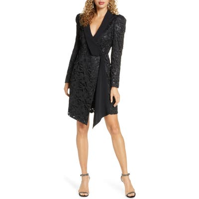 Harlyn Sequin Lace Long Sleeve Tuxedo Cocktail Dress, Black