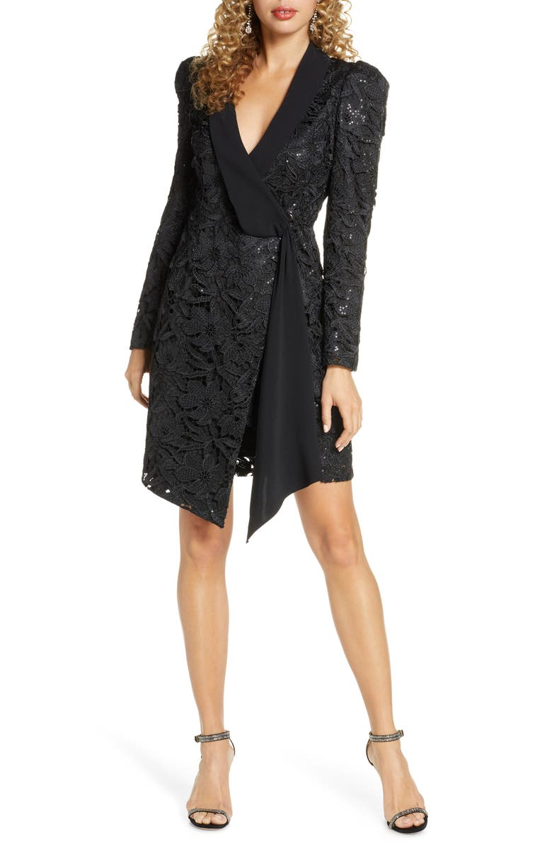 HARLYN Sequin Lace Long Sleeve Tuxedo Cocktail Dress, Main, color, BLACK