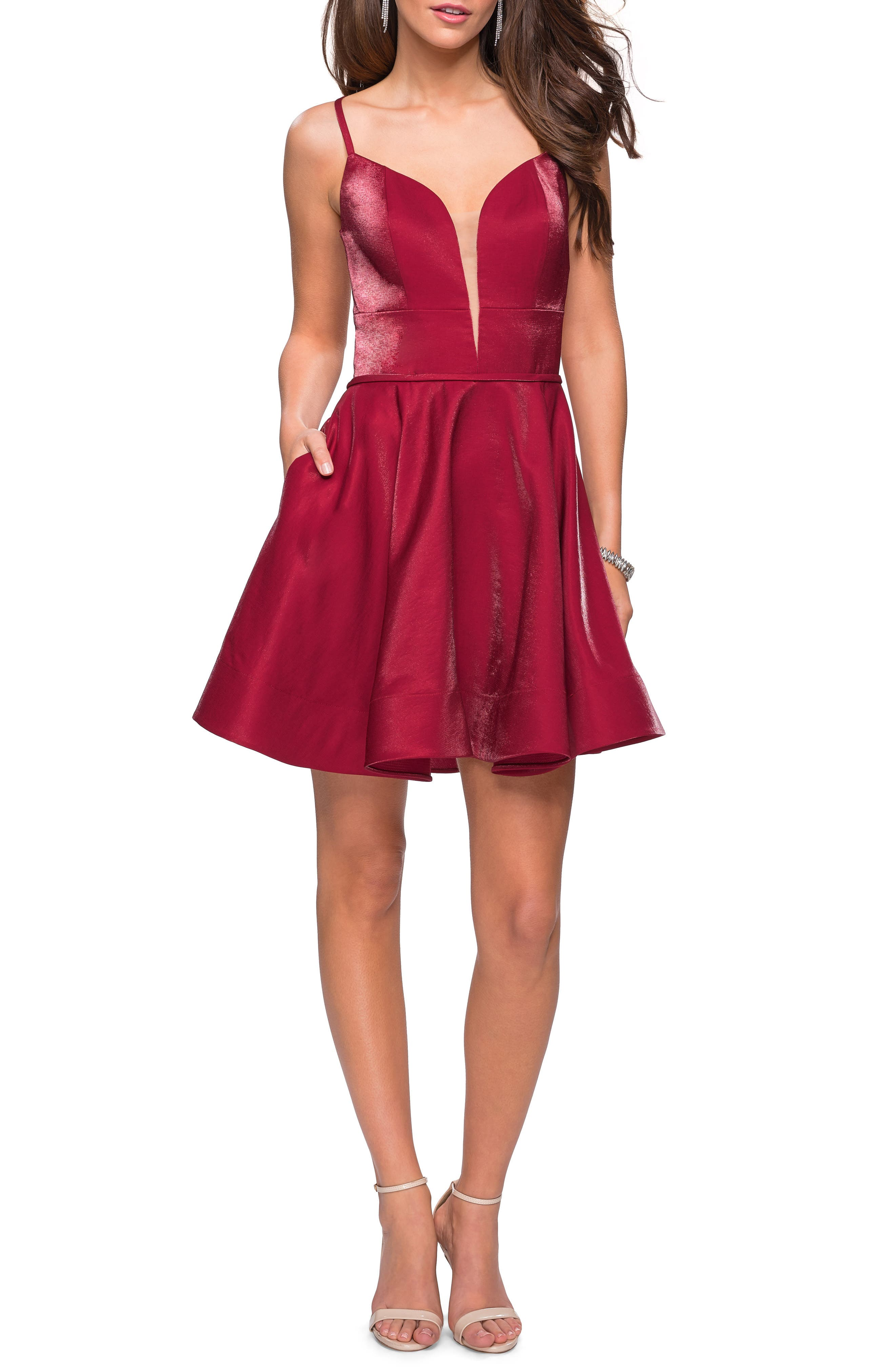 La Femme Satin Fit & Flare Dress, Red