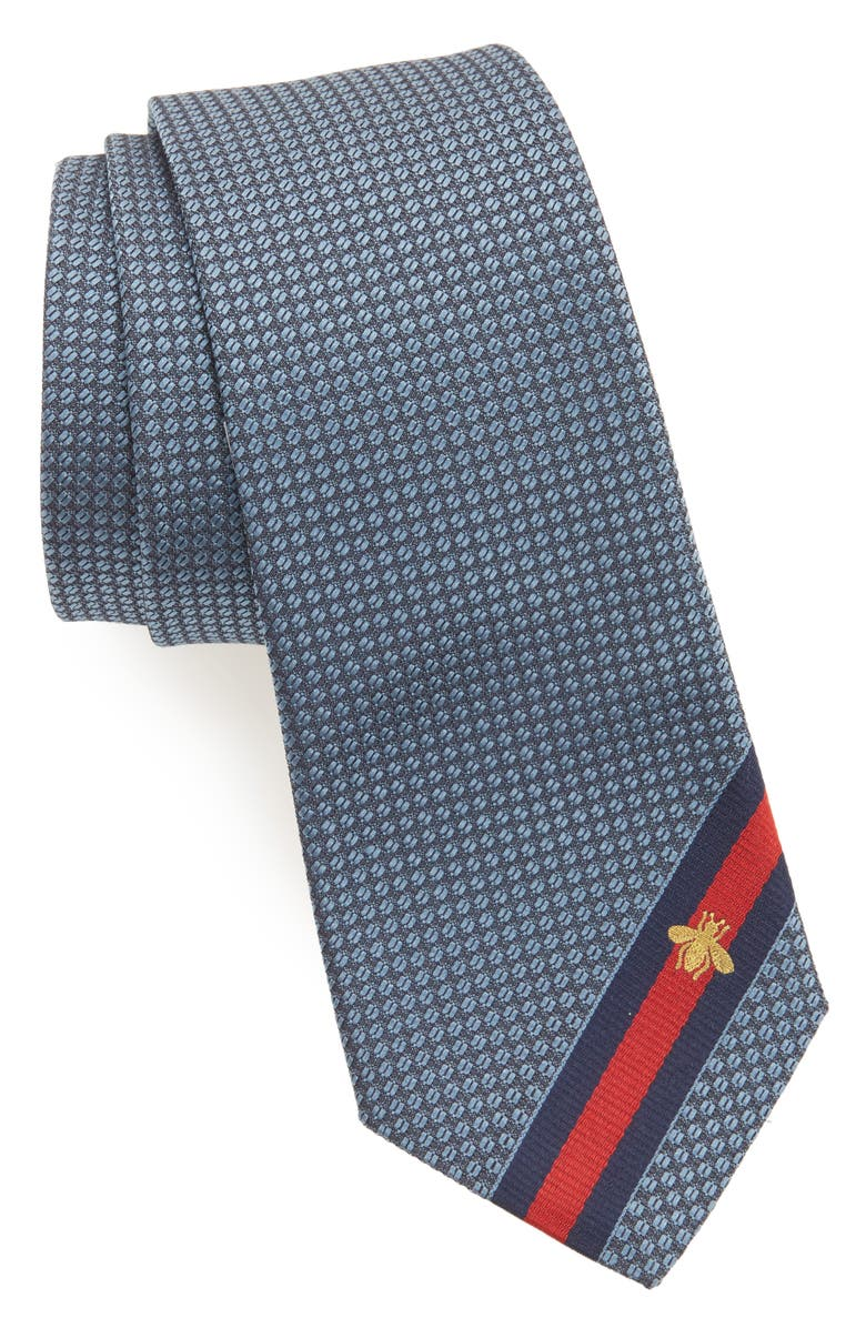 GUCCI Silk Tie, Main, color, BLUE
