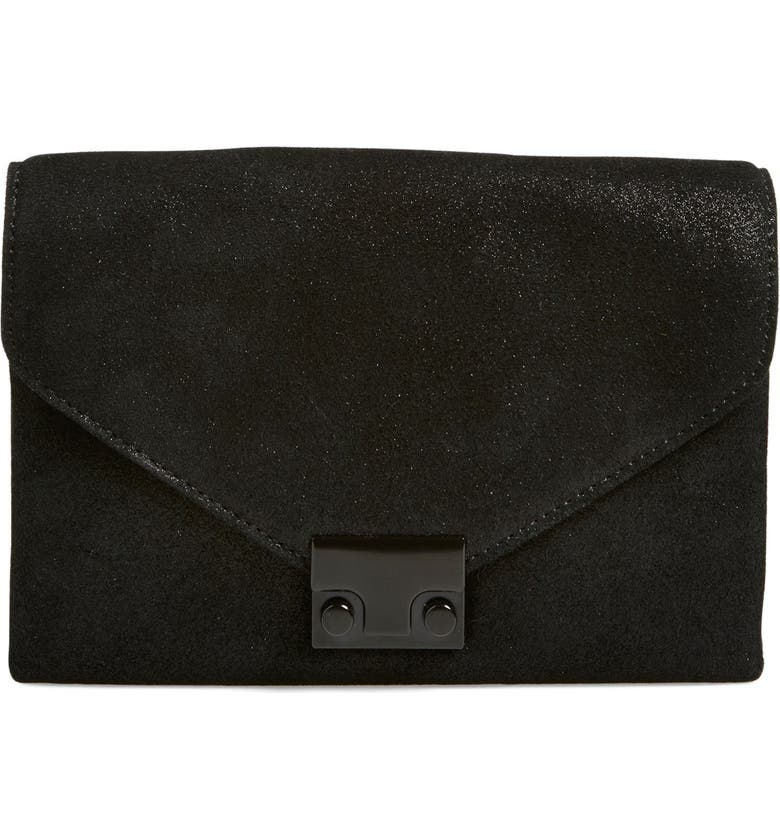 LOEFFLER RANDALL 'Junior Lock' Leather Clutch, Main, color, 001