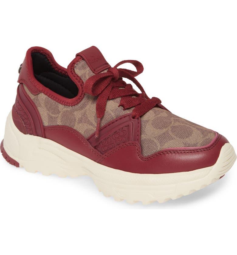 COACH C150 Runner Sneaker, Main, color, BERRY/ TAN