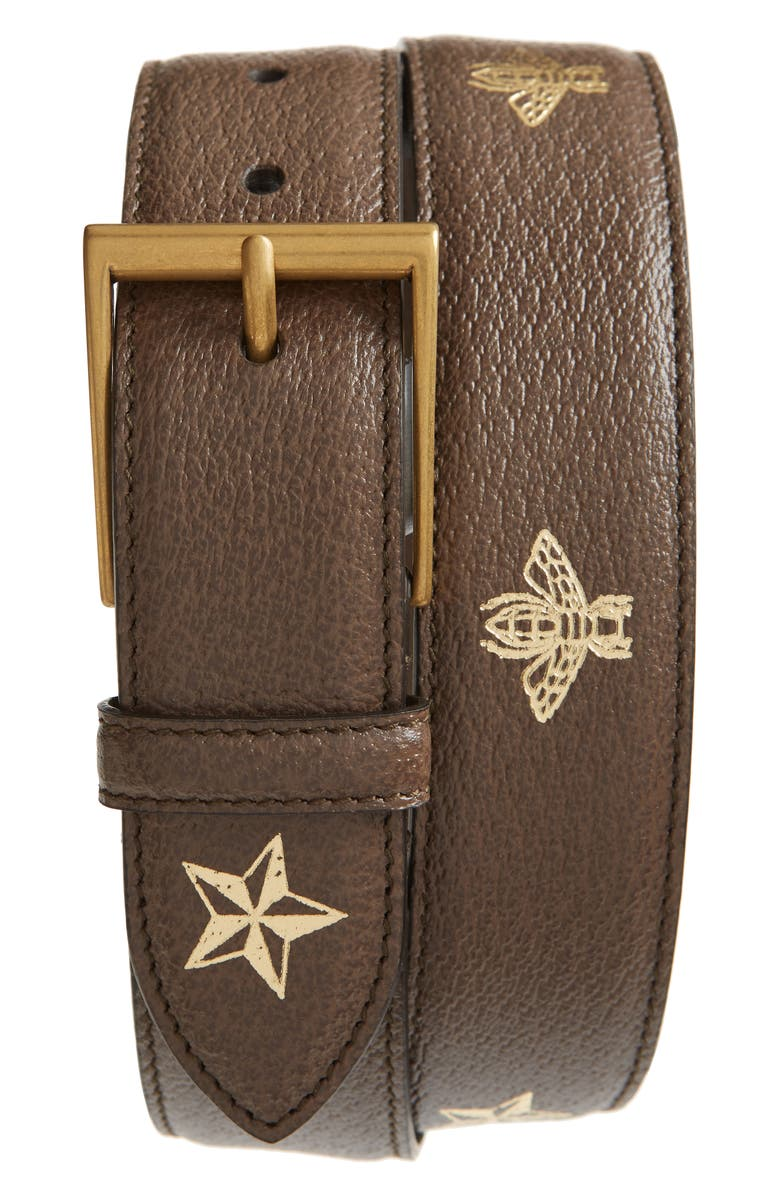 GUCCI Leather Belt, Main, color, METALLIC GOLD