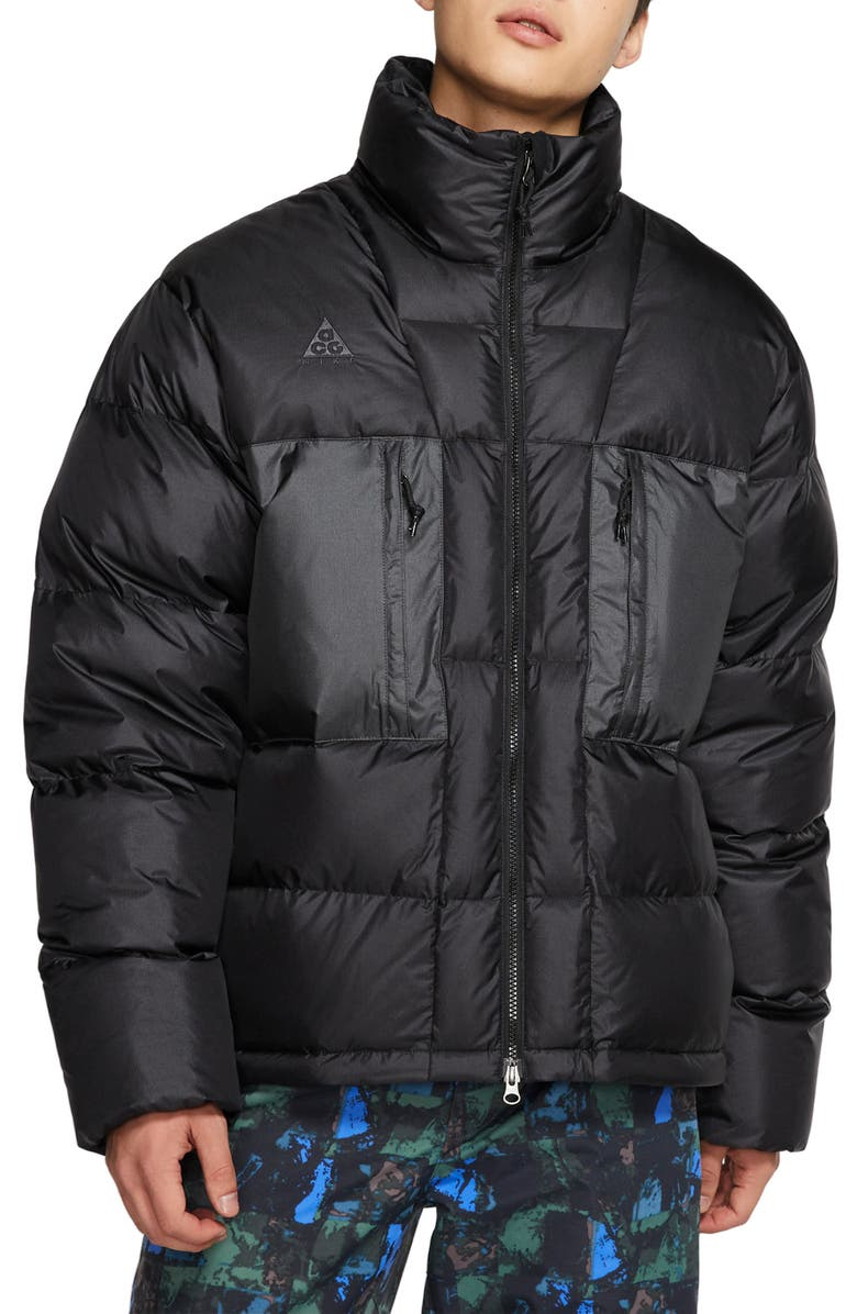 NIKE ACG Water Repellent Nylon Down Jacket, Main, color, BLACK/ ANTHRACITE/ ANTHRACITE