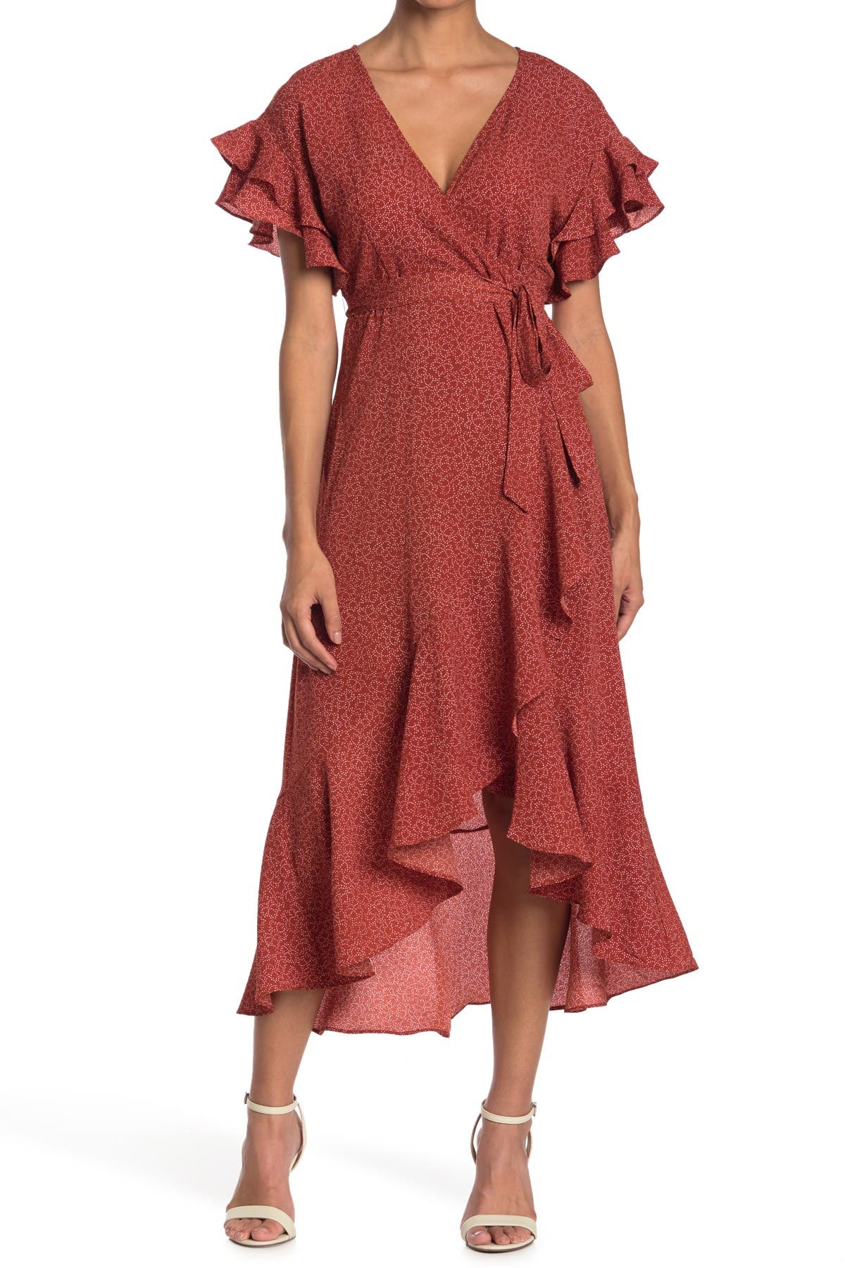 Image of Max Studio Ruffle Crepe High/Low Wrap Midi Dress