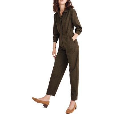 Madewell Grid Dot Seamed Coverall Jumpsuit, 0 (similar to 18W) - Green