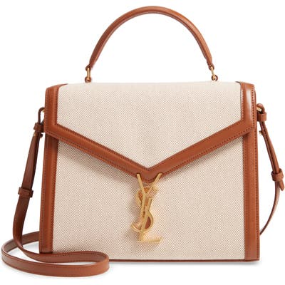 Saint Laurent Medium Cassandre Canvas Top Handle Bag - Beige