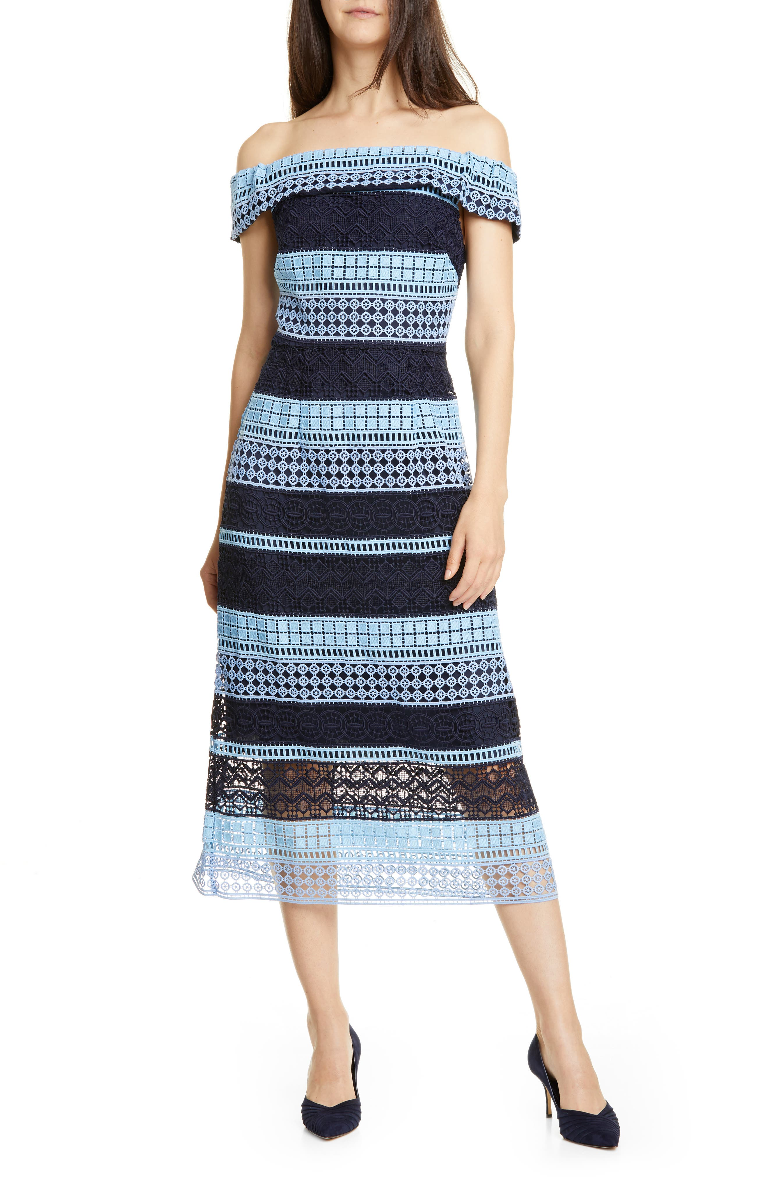 Ted Baker London Off-The-Shoulder Lace Dress, Blue