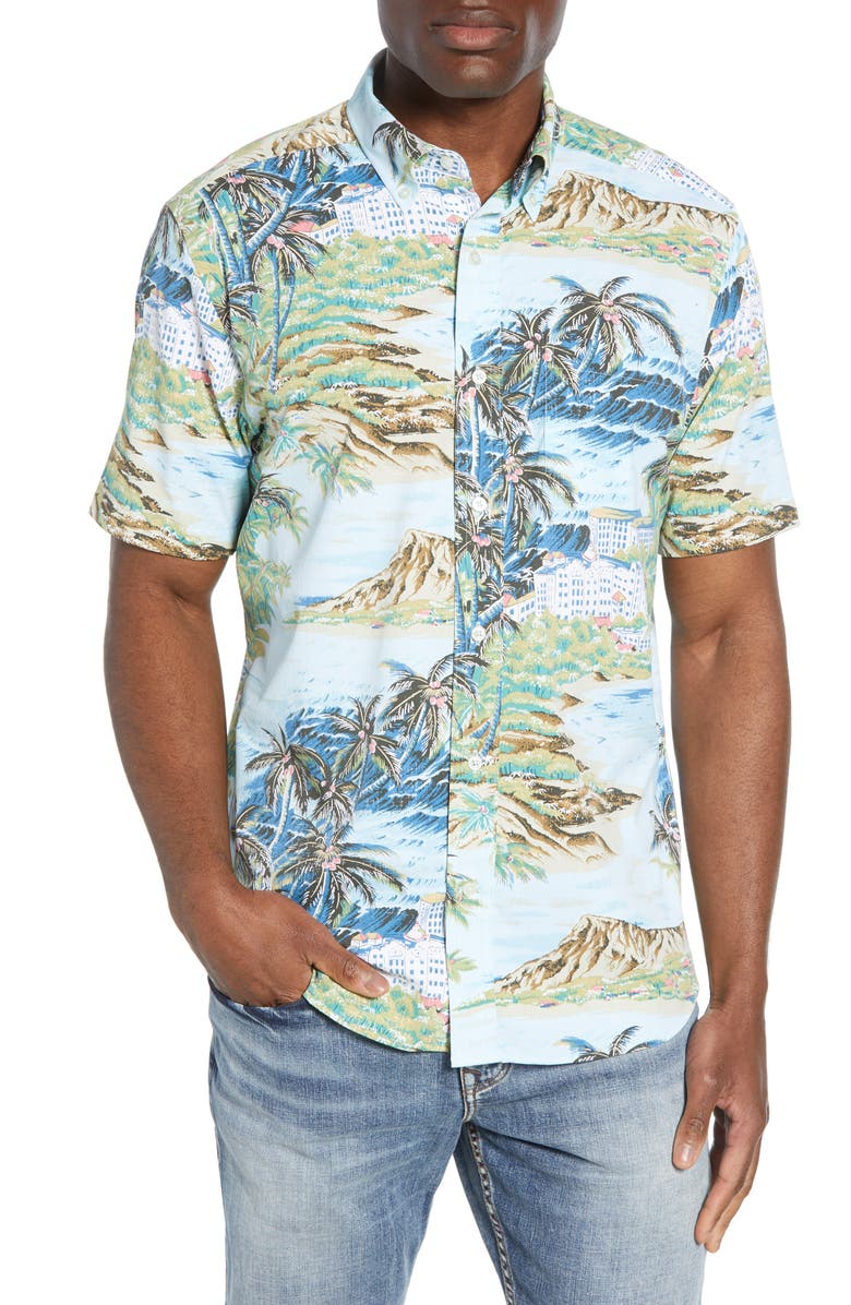 SOUTHERN TIDE x Reyn Spooner Island Time Regular Fit Short Sleeve Performance Button-Down Shirt, Main, color, SISTINE BLUE