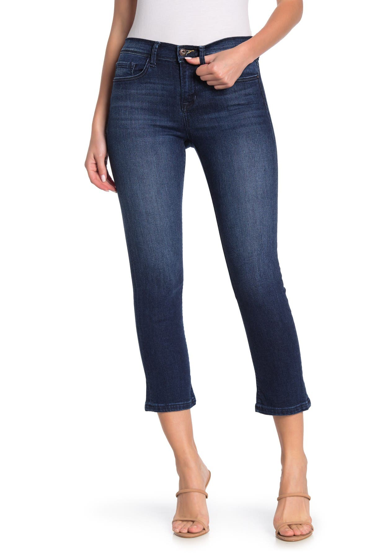 Image of Sneak Peek Denim Dark Wash Mid Rise Micro Flare Jeans