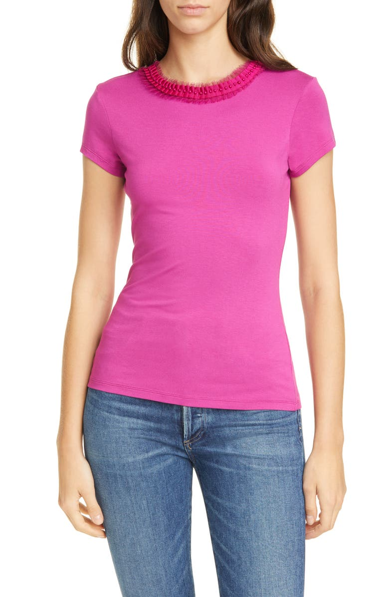 TED BAKER LONDON Jacii Embellished Neck Fitted Tee, Main, color, BRIGHT PINK