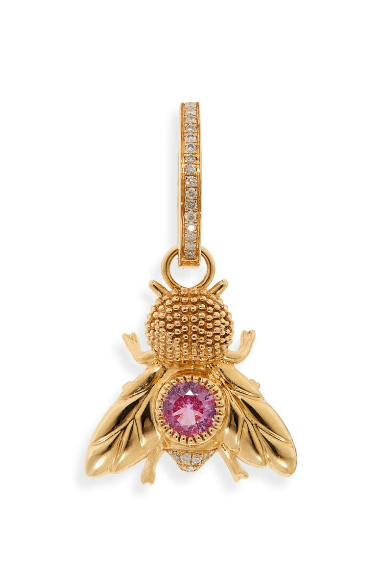 YVONNE LÉON Fly Grey Diamond & Pink Sapphire Earring, Main, color, YELLOW GOLD