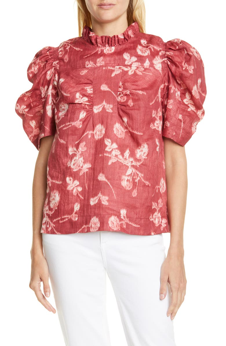 SEA Monet Floral Ruched Puff Sleeve Top, Main, color, MERLOT MULTI