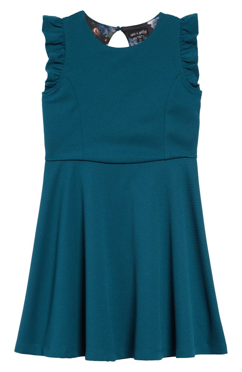 AVA & YELLY Textured with Print Lining Dress, Main, color, TEAL