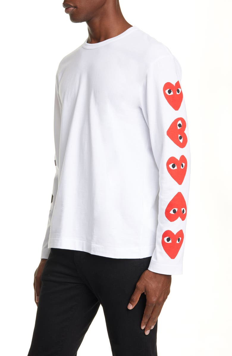 COMME DES GARÇONS PLAY Long Sleeve T-Shirt, Main, color, WHITE
