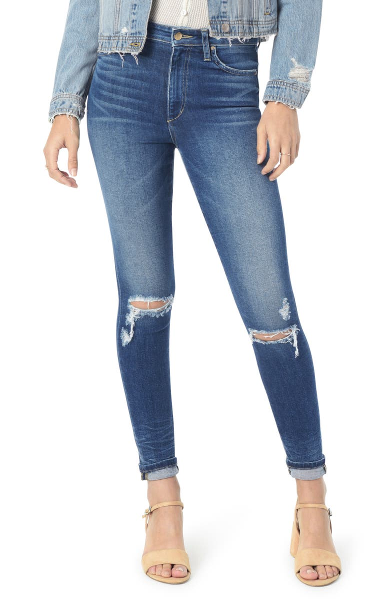 JOE'S Bella Ripped High Waist Ankle Skinny Jeans, Main, color, 402
