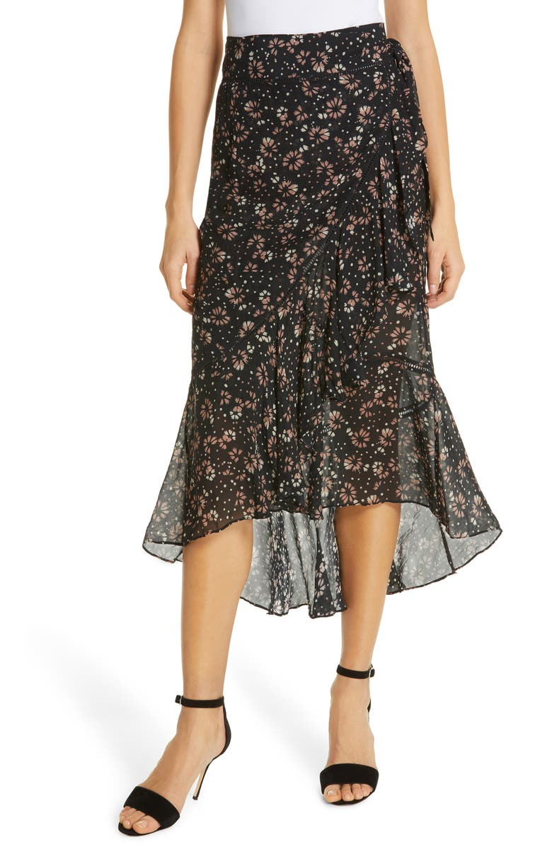 LOVE SAM Belle Fleur Silk Wrap Skirt, Main, color, 650