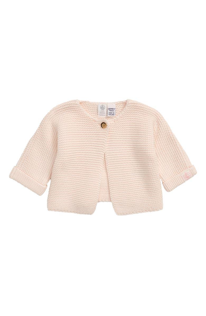 PETIT BATEAU Knit Cardigan, Main, color, PINK