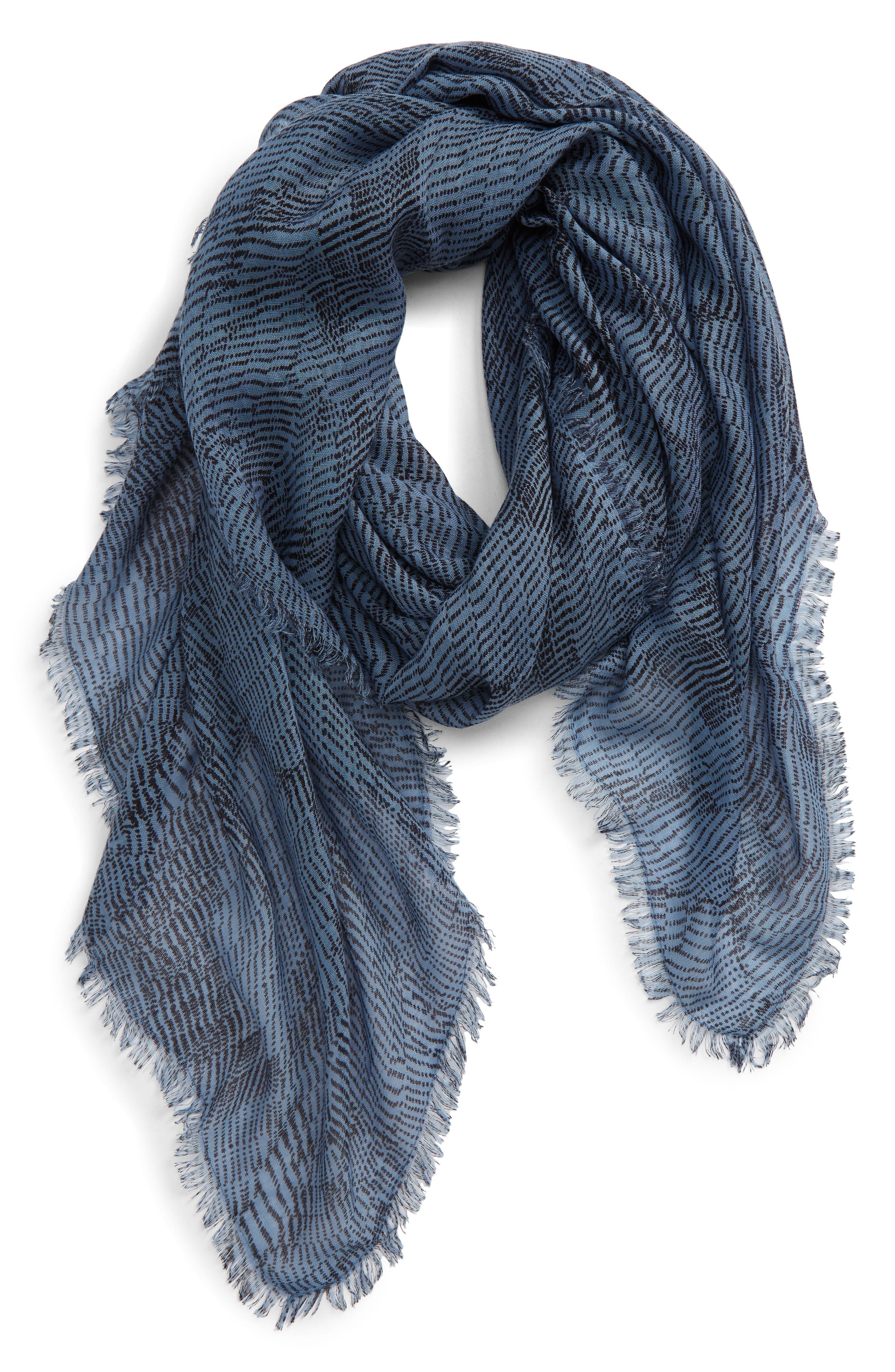 This feather-light square scarf with fringed trim features a print that makes a statement even when it\\\'s wrapped, tied or draped. When you buy Treasure & Bond, Nordstrom will donate 2.5% of net sales to organizations that work to empower youth. Style Name: Treasure & Bond Print Square Scarf. Style Number: 6017719. Available in stores.