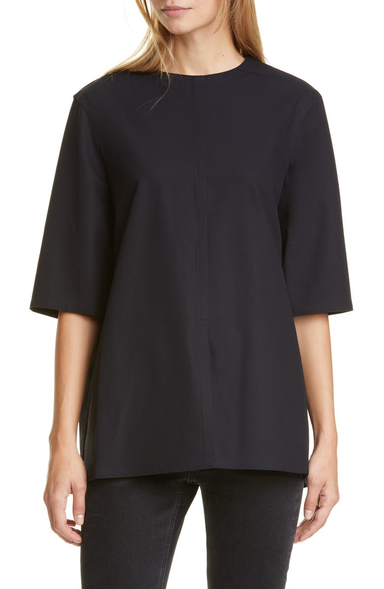 SOFIE D'HOORE Cotton Twill Top, Main, color, MIDNIGHT