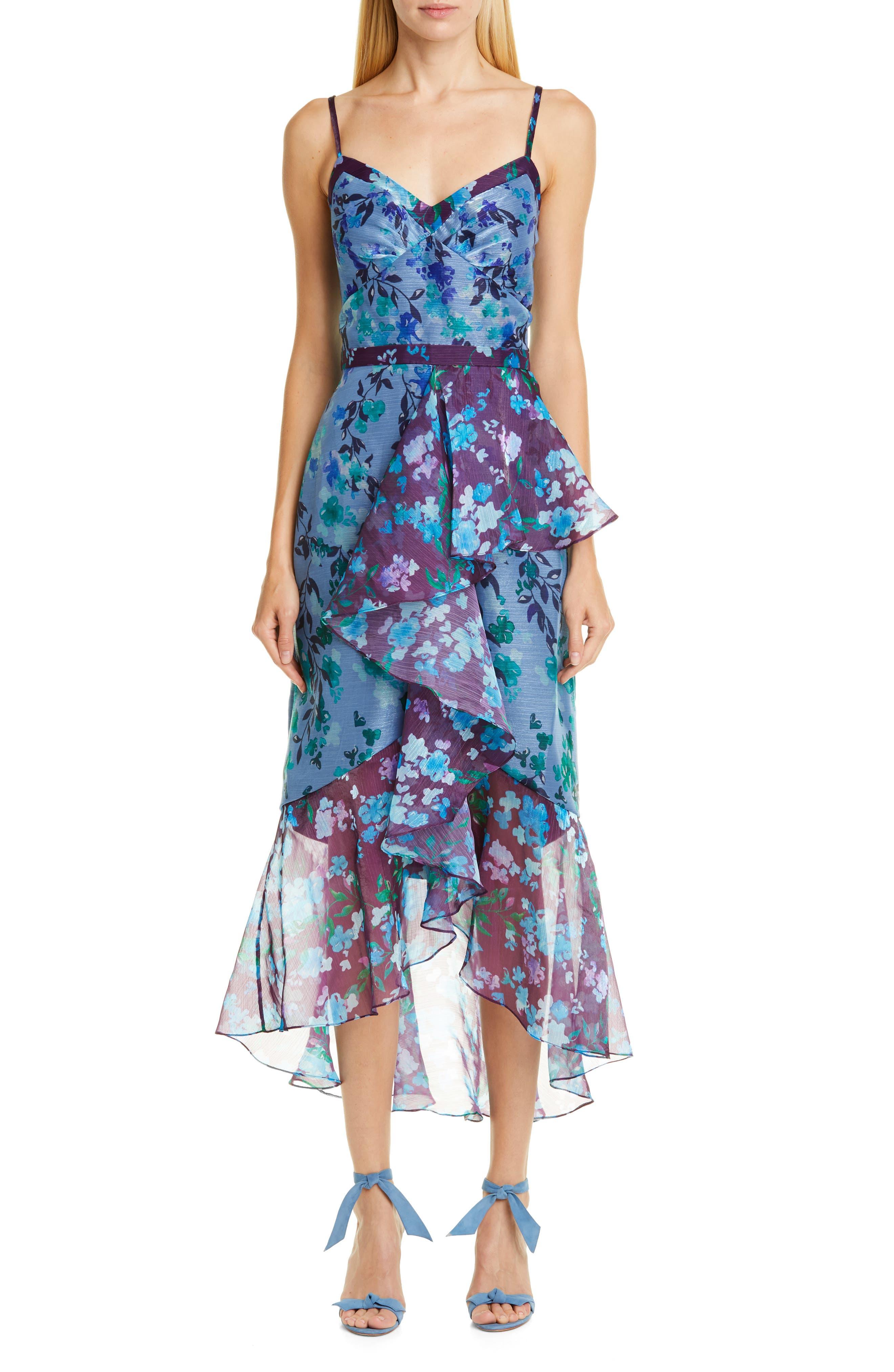Marchesa Notte High/low Chiffon Midi Dress, Blue