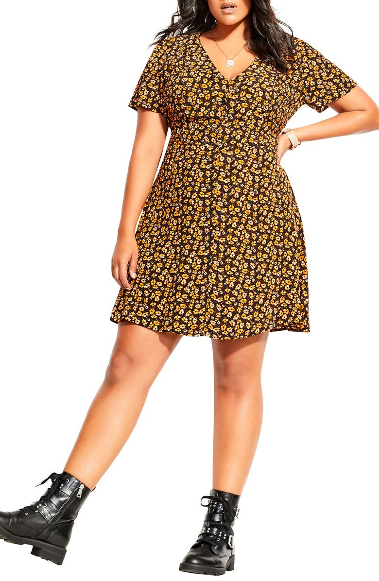 CITY CHIC Golden Ditzy Dress, Main, color, GOLDEN DITSY