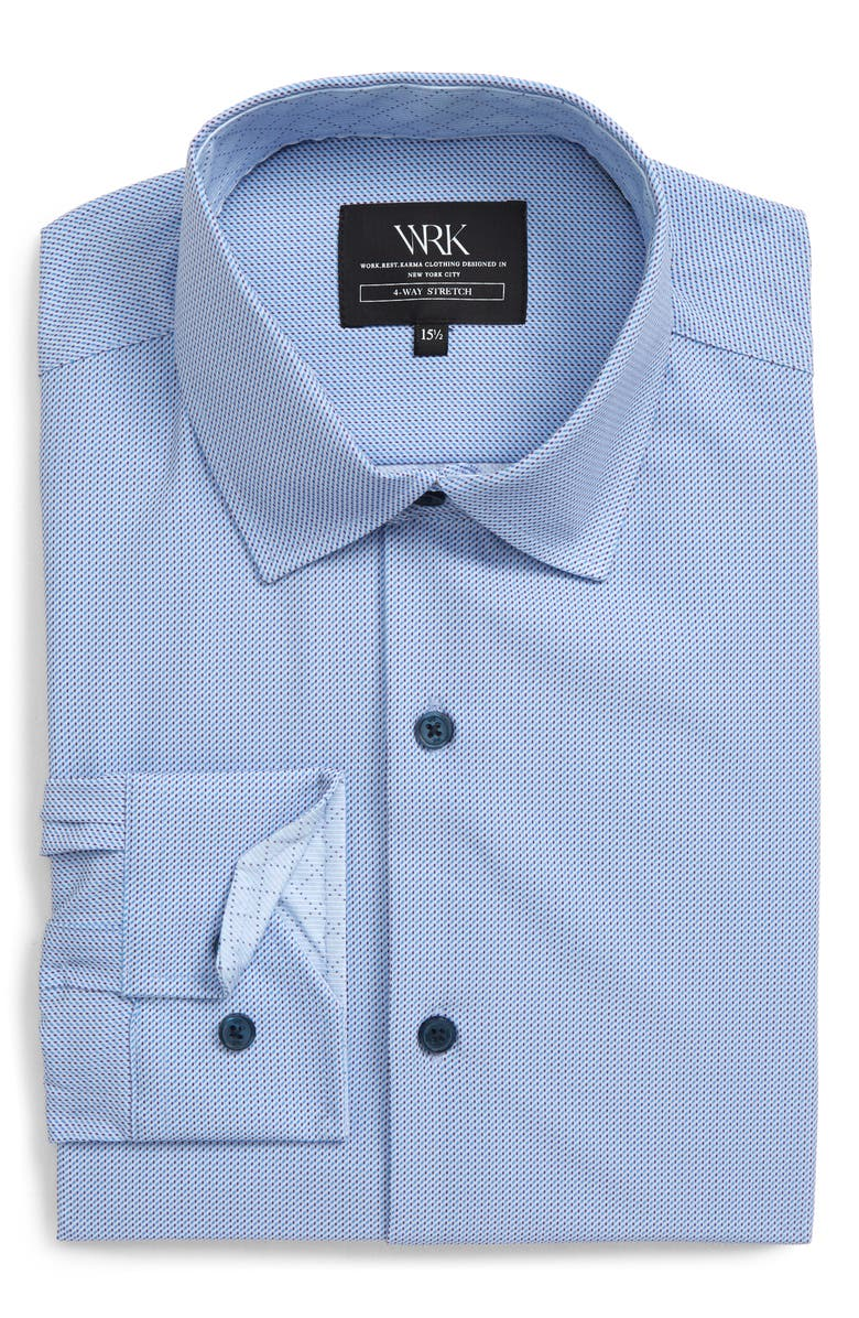 W.R.K Trim Fit Performance Stretch Solid Dress Shirt, Main, color, 450