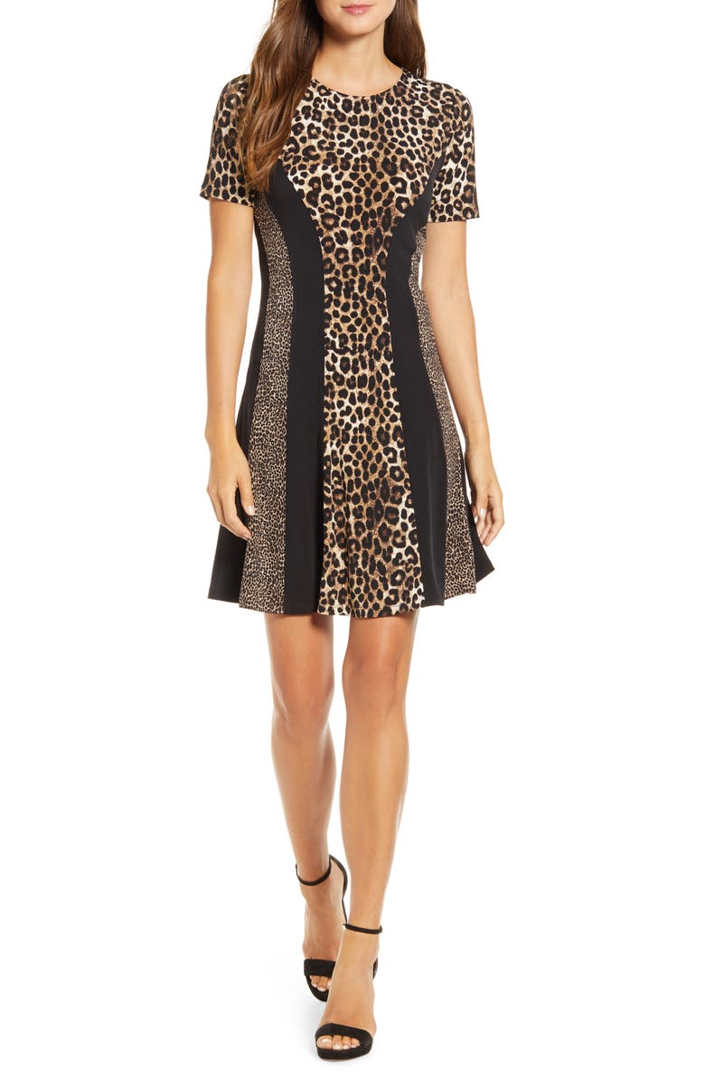 MICHAEL KORS Cheetah Combo Fit & Flare Dress, Main, color, DARK CAMEL