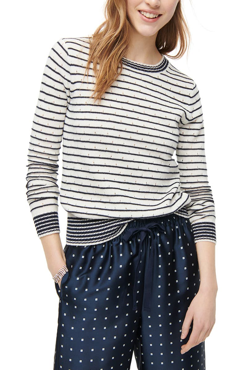 J.CREW Pointelle Stripe Crewneck Sweater, Main, color, IVORY NAVY