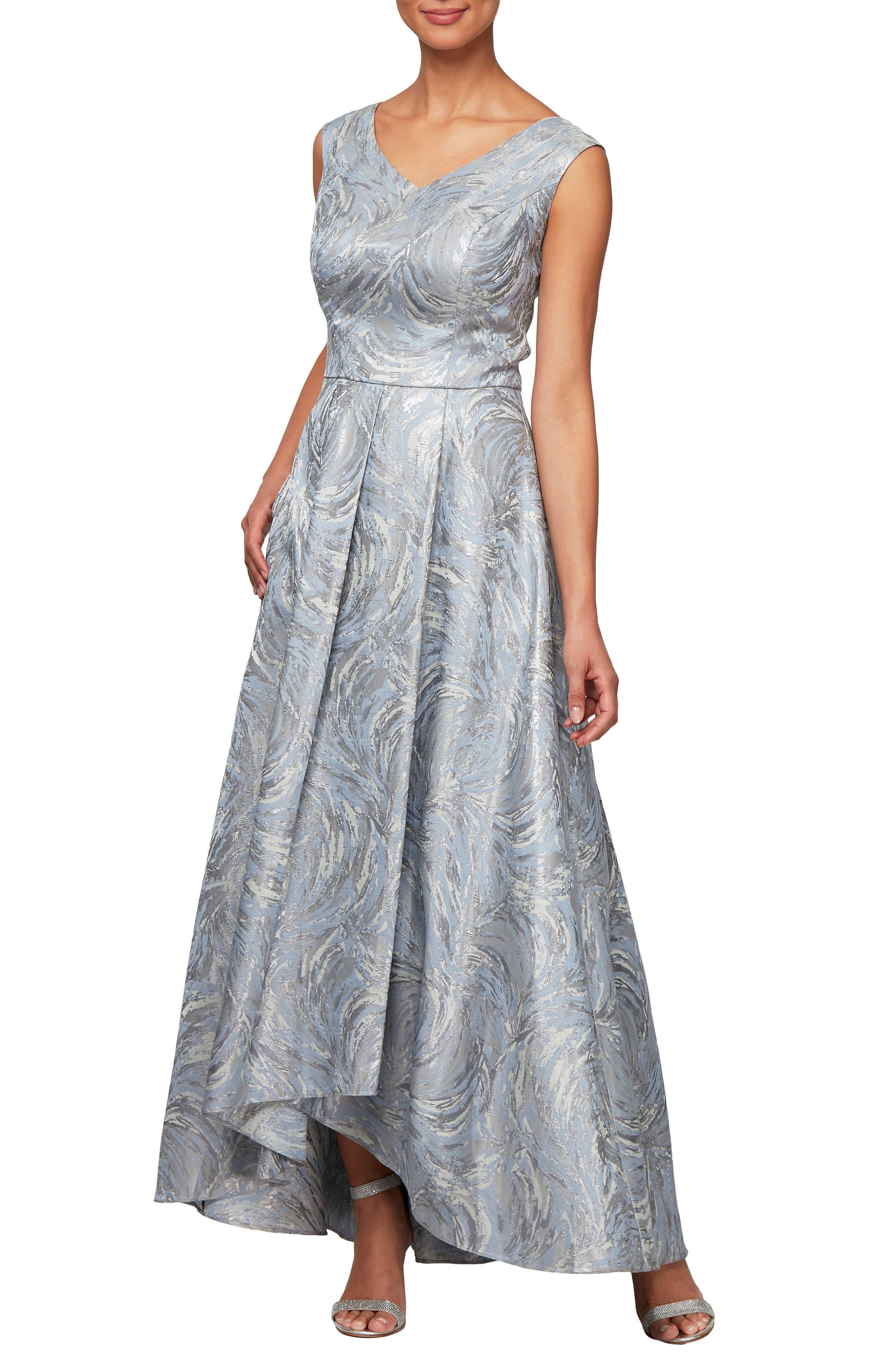,                             Metallic Swirl High/Low Evening Dress,                             Main thumbnail 1, color,                             SILVER MULTI
