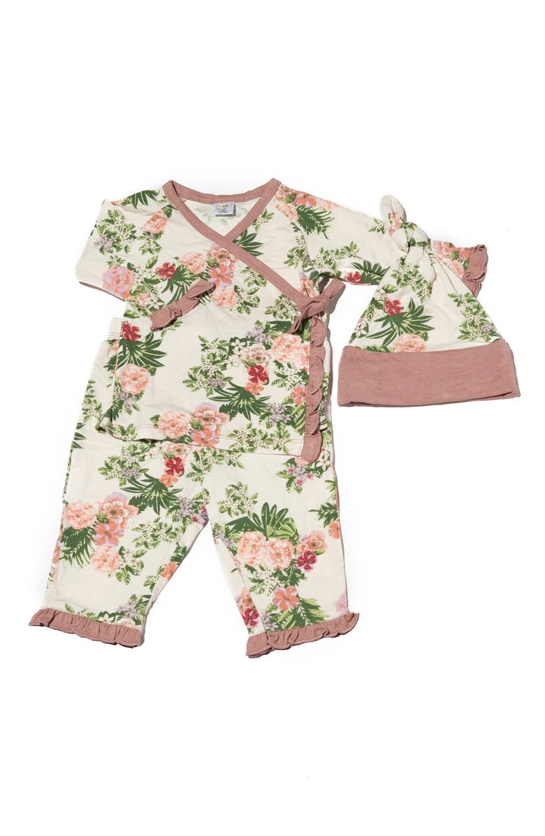 EVERLY BY BABY GREY Baby Grey Ruffle Trim Wrap Top, Pants & Hat Set, Main, color, BEIGE FLORAL