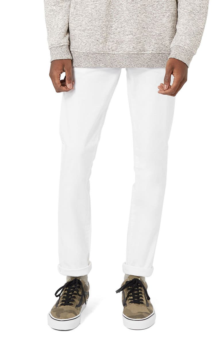 TOPMAN Stretch Skinny Fit Chinos, Main, color, WHITE