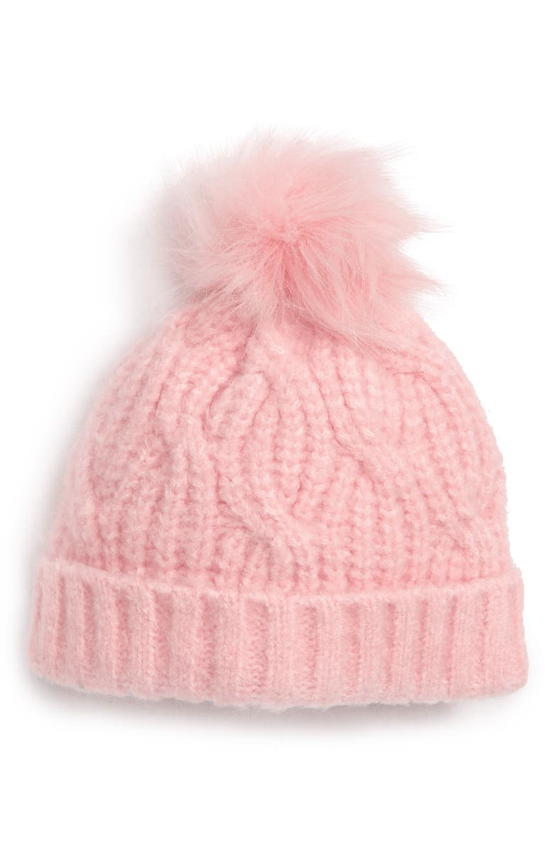 TUCKER + TATE Knit Hat with Faux Fur Pom, Main, color, PINK PEACHSKIN HEATHER