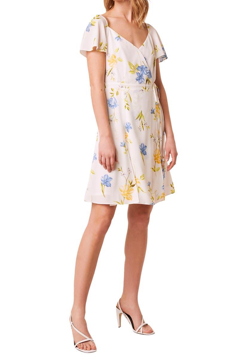 FRENCH CONNECTION Eme Crepe Faux Wrap Dress, Main, color, EME SUMMER WHITE