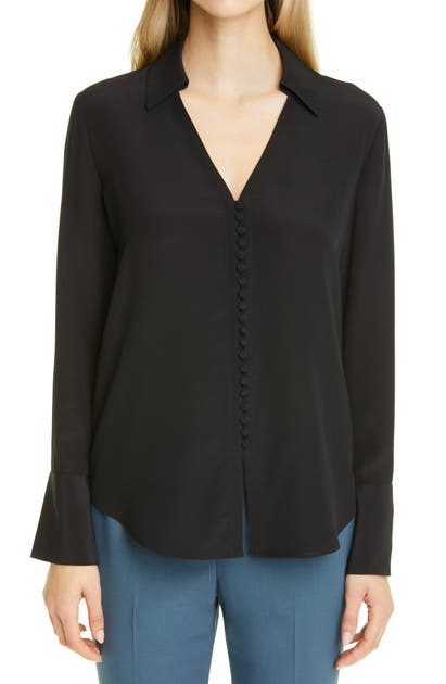 Club Monaco HELEN BUTTON-UP SILK BLOUSE