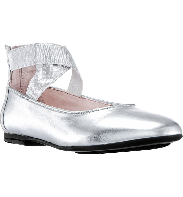 NINA Marissa Cross Strap Flat, Main, color, SILVER METALLIC