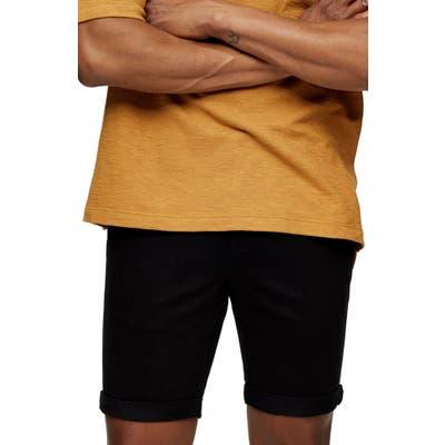 Topman Stretch Skinny Chino Shorts, Black