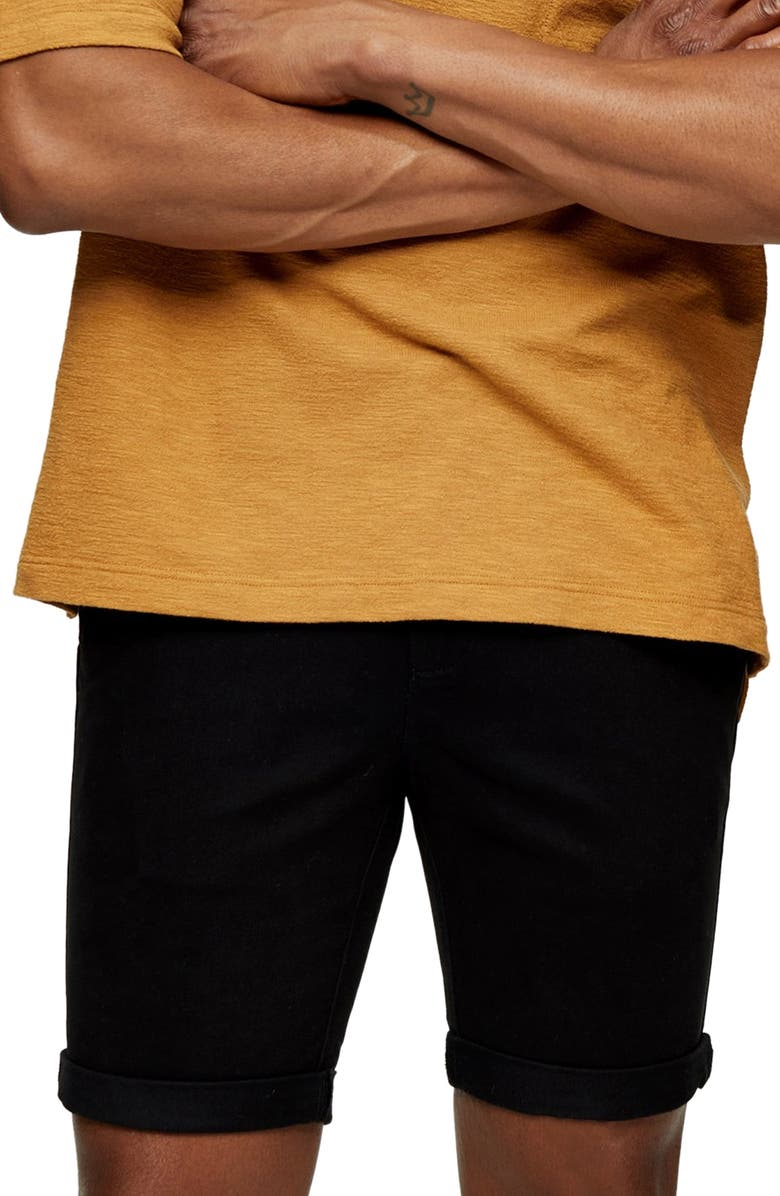 TOPMAN Stretch Skinny Chino Shorts, Main, color, NEW BLACK