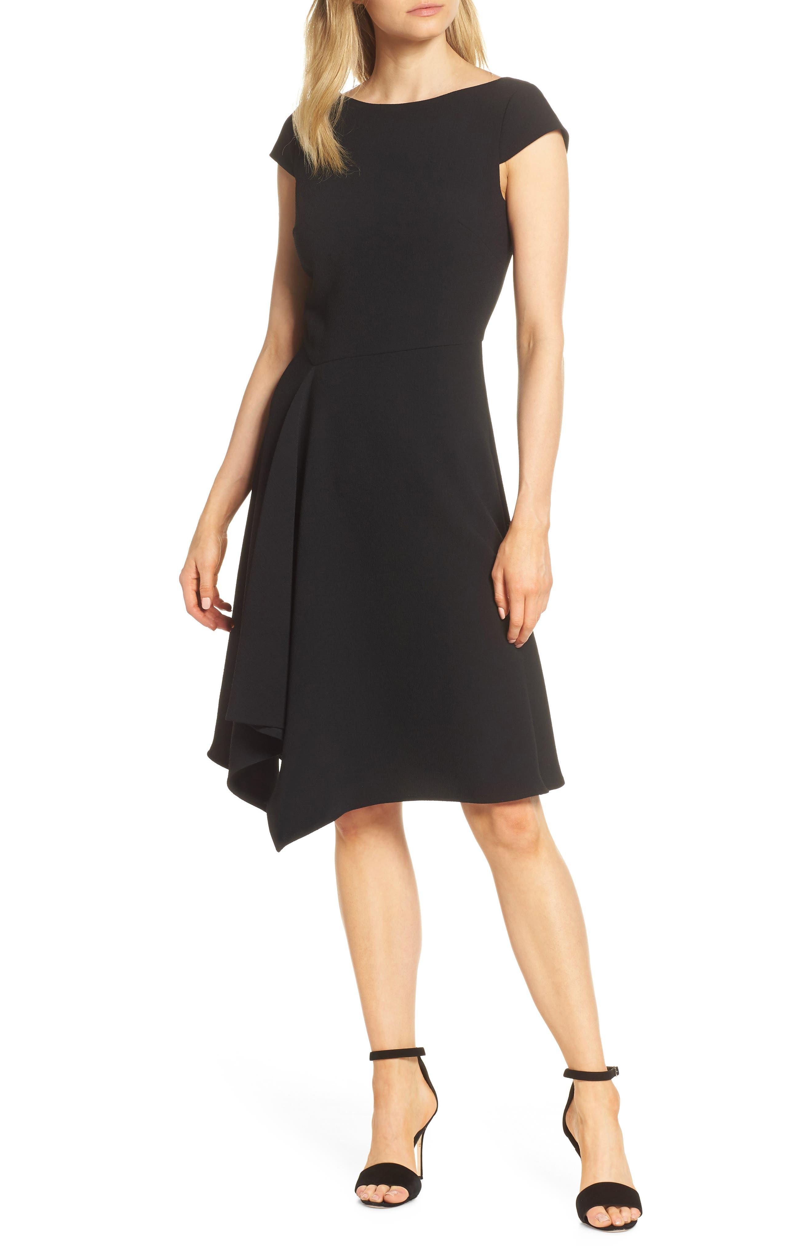 Petite Harper Rose Fit & Flare Dress, Black